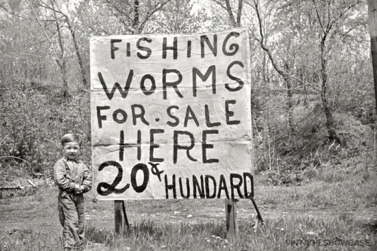 Vintage Fishing Worms Sign and Boy