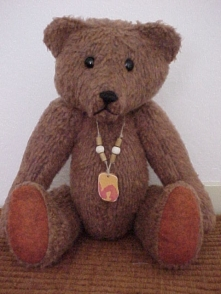 Grainger the Ranger- Vintage Plush Felt Bear with Sea Tile Pendant
