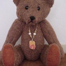 Grainger the Ranger- Vintage Plush Felt Bear with Sea Tile Pendant