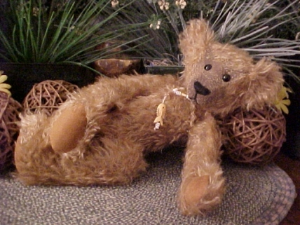 Fisher- Mohair Bear with Wobble Joints and Bone Fish Pendant