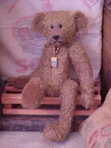 Sawyer- Chocolate Sparse Curly Matted Mohair Bear with Wobble Joints, Leather Pads and Sea Tile Pendant