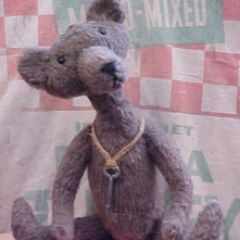Horace- Primitive Country Styled Bear in Vintage Plush Felt with Skeleton Key Pendant