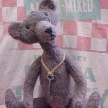 Horace- Primitive Country Styled Bear in Vintage Plush Felt with Skeleton Key Pendant