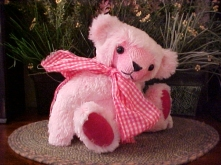 """Elsie- Synthetic 13"""" Faux Fur """"Raspberry Soda"""" Bear with Child Safe Straight Plastic Joints"""