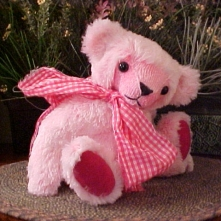 "Elsie- Synthetic 13"" Faux Fur ""Raspberry Soda"" Bear with Child Safe Straight Plastic Joints"