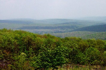 View from Tom Sauk Mountain, highest elevation in Missouri at 1,772 feet in St. Francois Mountains.