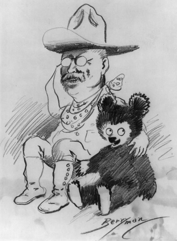 Teddy Roosevelt with bear cub