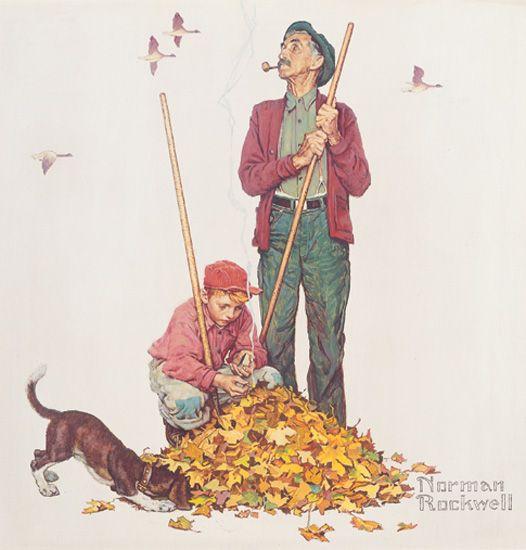 "Norman Rockwell- ""Grandpa and Me: Raking Leaves"",  Four Seasons Calendar, 1948"
