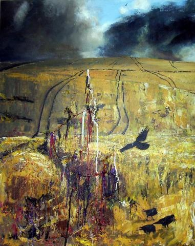 """Crows in Cornfield""-- Artwork by Teresa Tanner,  Landscape Artist"