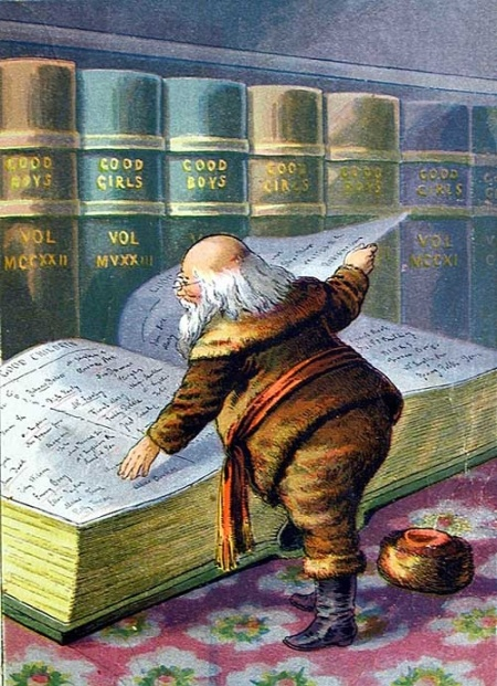 Santa Claus with the Naughty and Nice Books