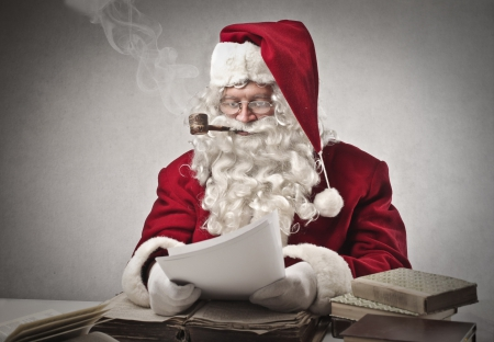 Santa Claus Reviewing Records and Accounts