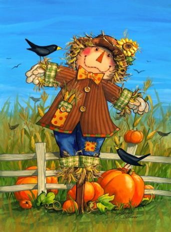 Happy Scarecrow with Pumpkins and Crows at the Fence