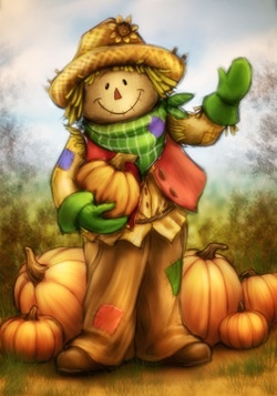 Waving Country Scarecrow with Pumpkins