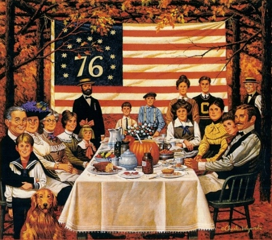 "Charles Wysocki- ""And the Hearty Ate a Thankful Meal"""