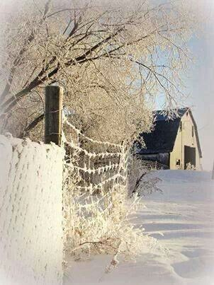 Winter Barn and Fencing- Found on freshfarmhouse.tumblr.com