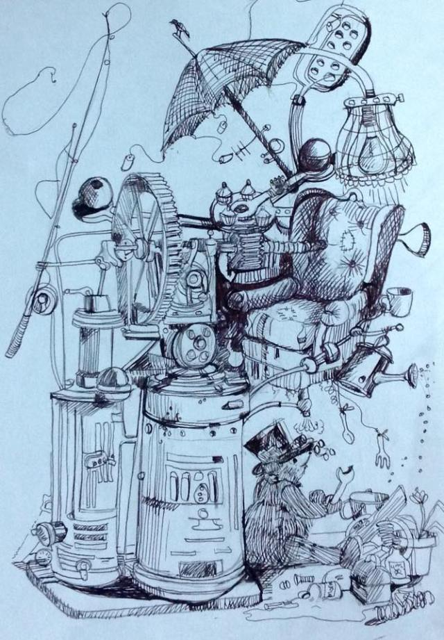 """Milson, the Steampunk Bear Finishes the 'Go Anywhere, Do Anything' Chair""- original artwork by Christine Southworth"