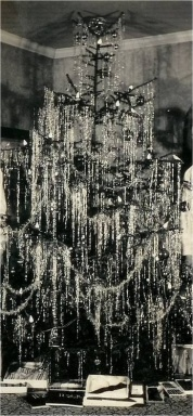 Vintage Christmas Tree Loaded with Tinsel