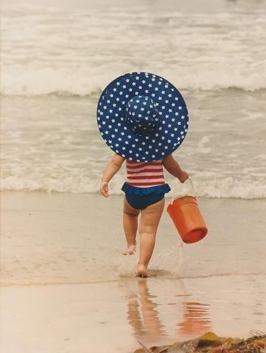 Children- Patriotic little girl at the beach
