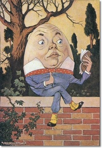"His Highness and Royal Majesty King Humpty the Learned, Studying ""The Adventures of Little Red Bear"" (artwork by Milo Winter, 1916)"