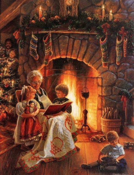 christmas-grandmother-with-children-by-the-fireside