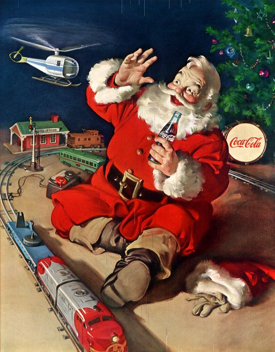 haddon-sundblom-coke-santa-with-train