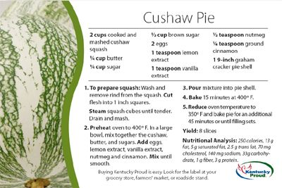 Cushaw Pie Recipe, via Kentucky Proud