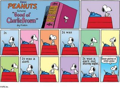 Peanuts- Snoopy- Writing- Hard Work
