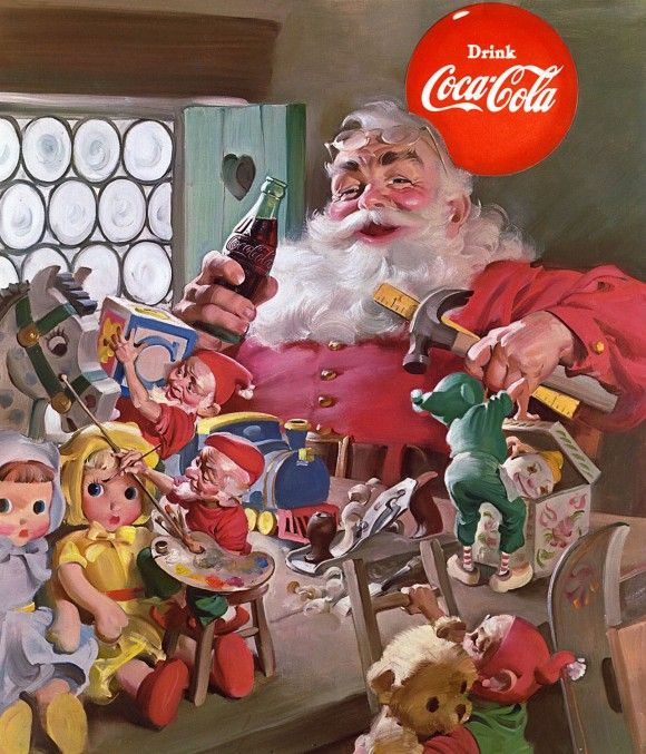 haddon-sundblom-coke-santa-with-toys