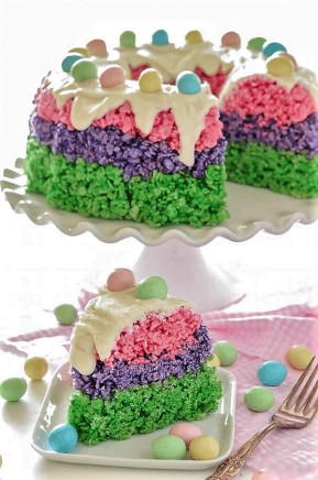 Rice Krispie Easter Cake (Recipe and Image by The Novice Chef Food Blog)