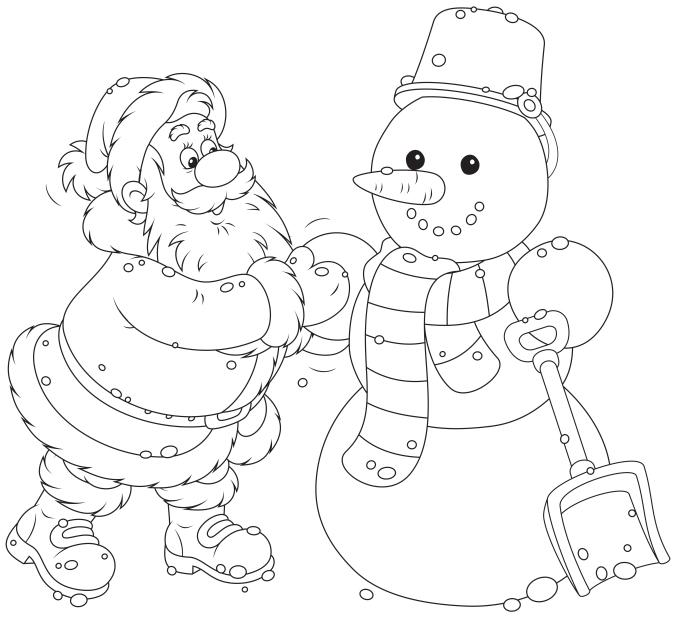 7- Santa and Snowman- shutterstock_222773842